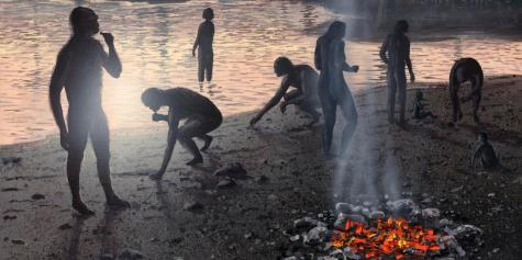 Early human settlement. Artwork of a group of ^IHomo Erectus^i humans gathered around a fire during the Late Pleistocene period (130,000 to 10,000 years ago) at what is now Lake Turkana in Kenya.