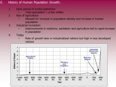 Early period of hunter/gatherers. Total population < a few million. Rise of agriculture. Allowed for increase in population density and increase in human population. Industrial revolution. Improvements in medicine, sanitation and agriculture led to rapid increase in population. Today. Rate of growth slow in industrialized nations but high in less developed nations. Earth's population has doubled several times since Industrial. Revolution. begins. Agriculture. begins. Bubonic. plague. Plowing. and. irrigation.