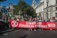 LONDON, ENGLAND - SEPTEMBER 20: Students march around Parliament square in support of the global climate strike on September 20, 2019 in London, England. (Photo by Guy Smallman / Getty Images)